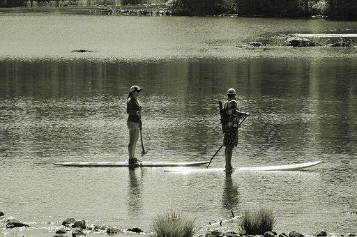 Paddleboards On String Lake, Lake, Paddleboard, Austin