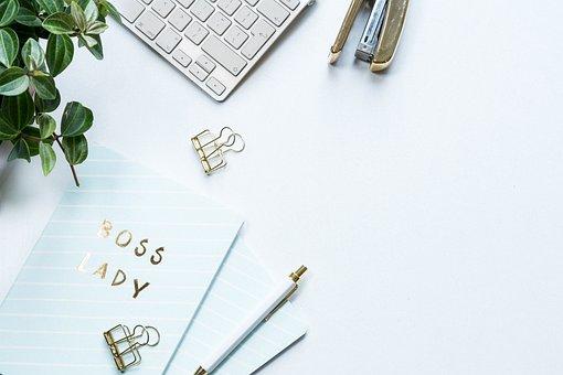 Flat Layout, White Background, Keyboard, Plant
