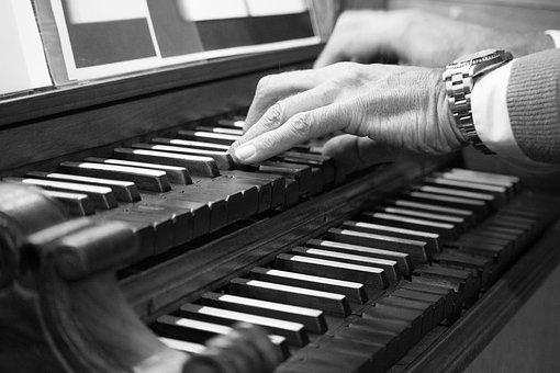 Organ, Keyboard, Register, Hands, Black And White