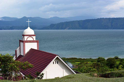 Sumatra, Indonesia, Church, Religion, Lake, Toba, Blue