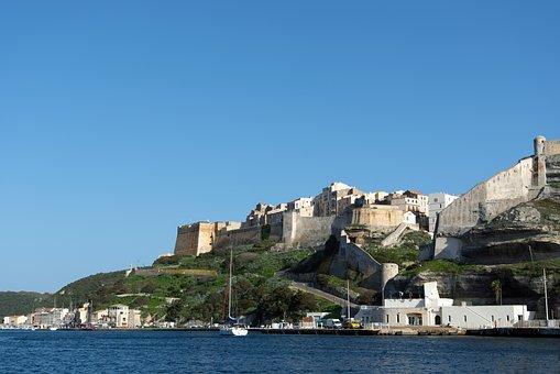 Bonifacio, Corsican, Citadel, Sea, Rampart