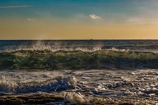 Sea, Sky, Clouds, Wave, Nature, Afternoon, Sunset