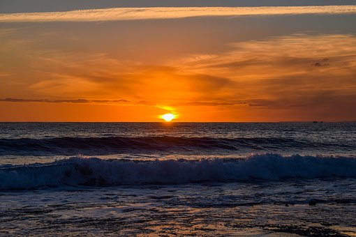 Sunset, Waves, Nature, Sea, Shore, Landscape, Afternoon
