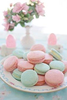 Macarons, Pink, Aqua, Pastels, Cookies, Biscuits, Sweet