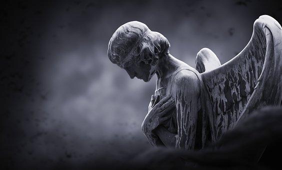 Angel, Gloomy, Moon, Background, Fantasy, Mysticism