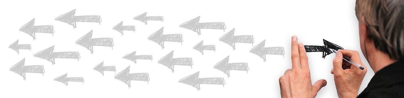 Banner, Header, Man, Write, Arrows, Change, Direction