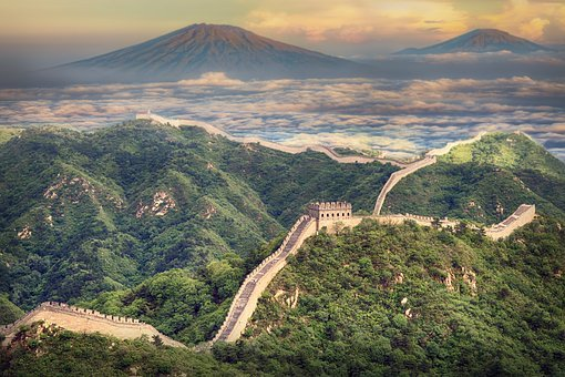 Landscape, Wall, China, Mountain, Asia, Old