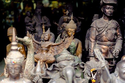 Thailand, Statuette, Figurine, Buddhism, Shop, Many