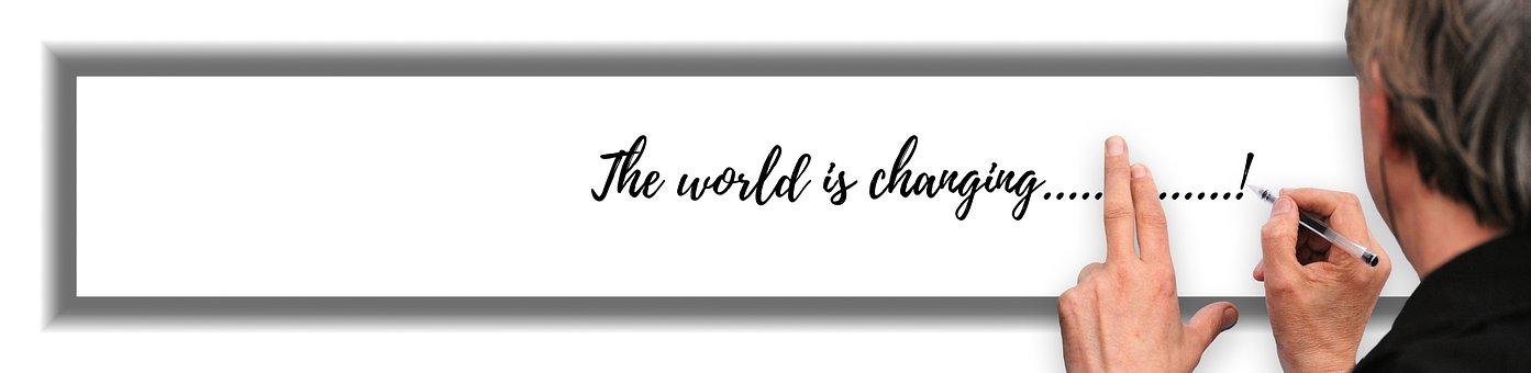 Banner, Header, Man, Write, Change, World, Conversion