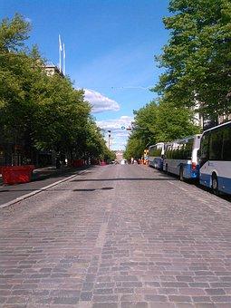 City, Street, Buses, Summer, Urban, Sky, Traffic, Trees