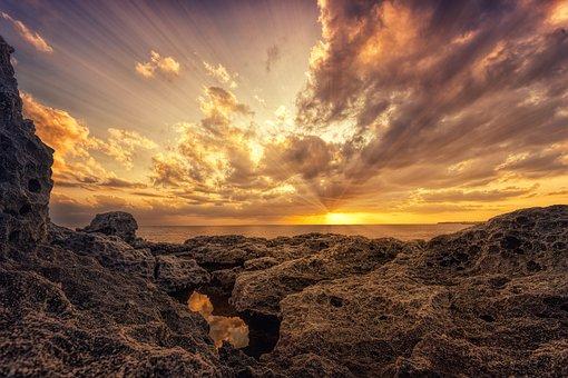 Sea, Coast, Clouds, Evening, Light, Rays, Water, Ocean