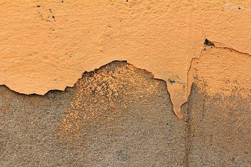 Wall, Orange, Plastered, Background, Structure, Flake