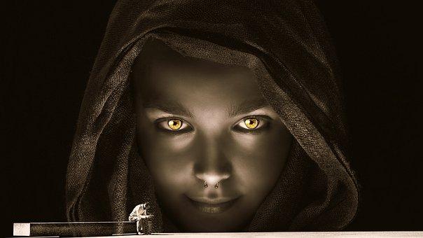 Woman, View, Gloomy, Man Sitting, Fantasy, Mysticism