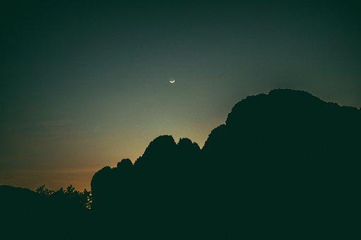 Laos, Asia, Mountains, Dark, Sunset, Moon, Evening, Sky