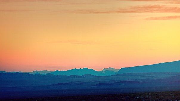 Nevada, Desert, Mountains, Evening, Light, Mood, Nature