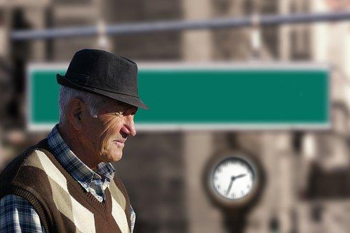Man, Senior, Old, Arrow, Home, Homeward Bound, View