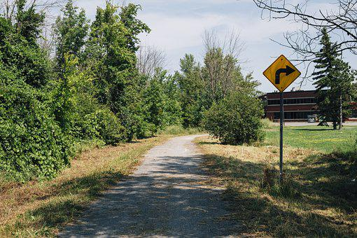 Sign, Path, Right Turn, Caution, Outdoors, Nature