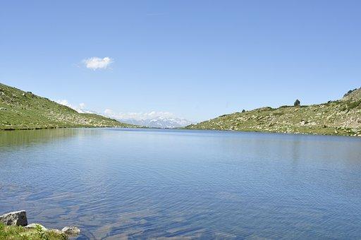 Mountains, Lake, Sky, Blue, Pyrenees