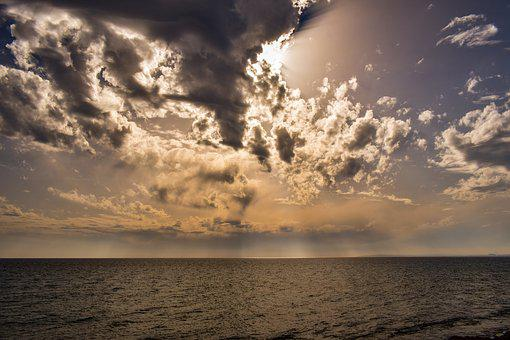 Sea, Sky, Clouds, Nature, Sunset, Dusk, Horizon, Mood