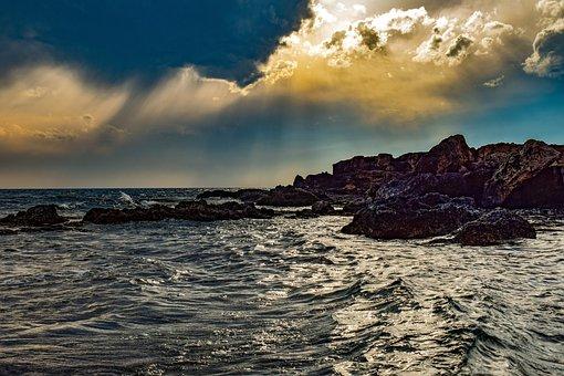 Sea, Rocky Coast, Sky, Clouds, Nature, Sunset, Evening