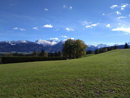 Allgäu, Landscape, Sky, Mountains, Bavaria