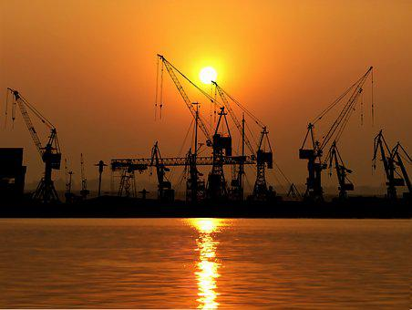 Sunset, Port, Cranes, Industries, Logistics, Water, Sky