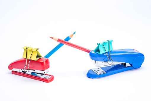 Stationery, Clip, Pencil, Colored, Stapler, Opposition