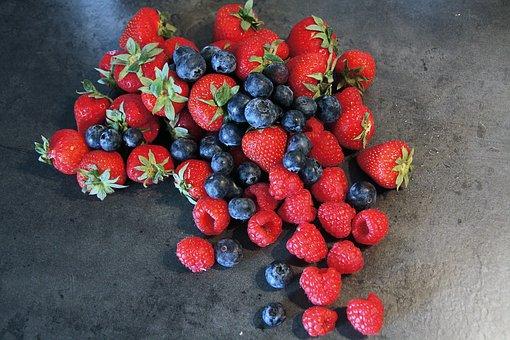 Berries, Fruits, Red, Strawberries, Blueberries