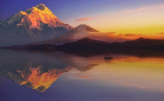 Mountains, Sunset, Lake, Reflection