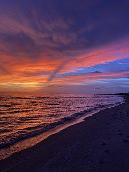 Sunset, Colorful, Florida, Sky, Water, Beach, Tropical