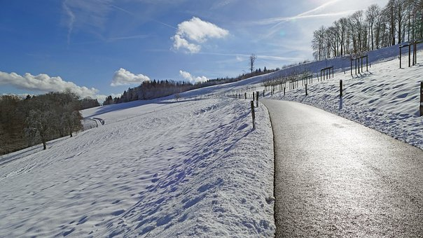 Landscape, Switzerland, Winter, Snow, Light, Sun, Road