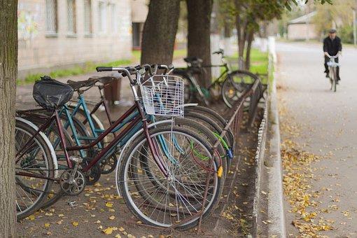 Bike Parking, Bike, Parking, Autumn, Road, Ukraine