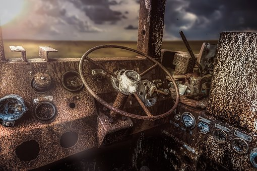 Lost Place, Composing, Rust, Vehicle, Driver's Cab