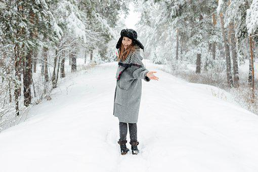 Girl, Woman, Young, Beautiful, White, Snow, Happiness