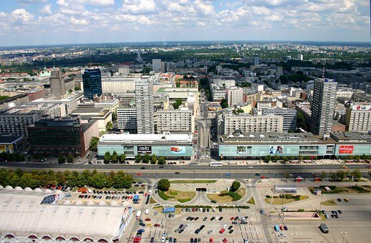 Warsaw, Poland, Aerial, Buildings, The Streets