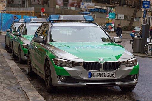 Police, Auto, Police Car, Vehicle, Green, Bavaria