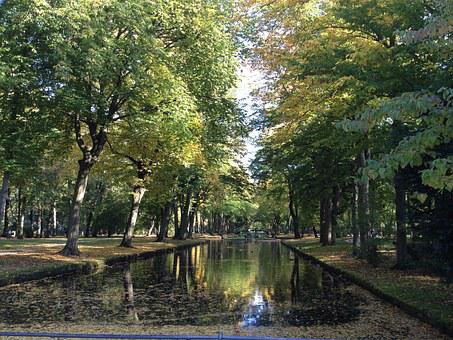 Bayreuth, Courtyard Garden, Park, Trees, Pond, Water