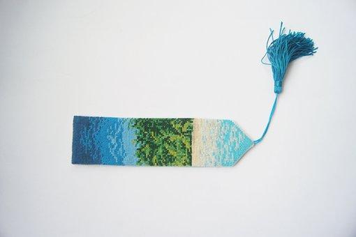 Cross Stitch, Bookmark, Tassel, Blue, The Scenery