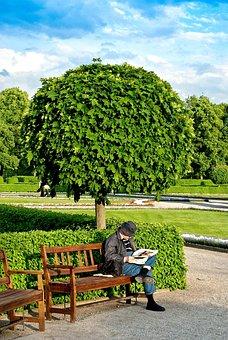 Munich, Courtyard Garden, Evening Light, Reader, Tree