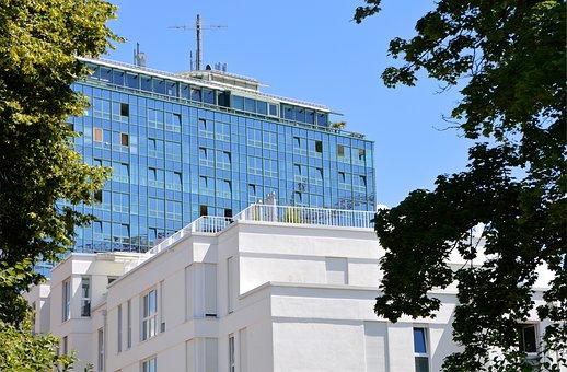 Skyscraper, Elevator, City, Hotel, Tower, Pointed, Sky