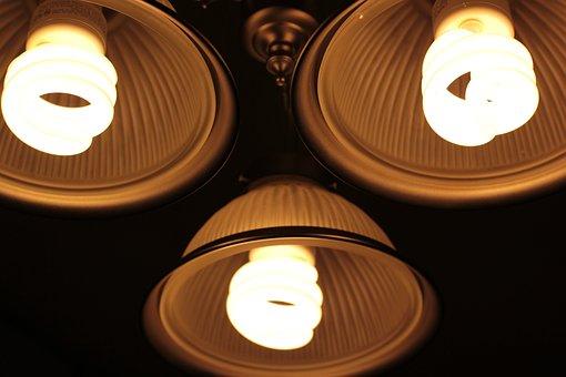 Lights, Closeup, Energy Savings, Fluorescent, Bulbs