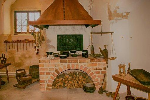 Kitchen, Historically, Fireplace, Wood