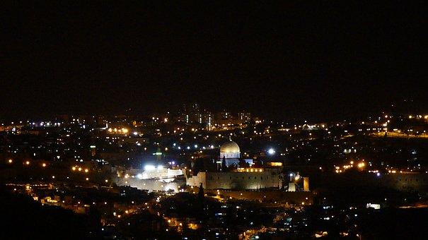 Jerusalem, Israel, Cathedral, Night, Skyline, Cityscape