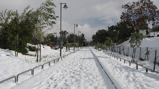 Jerusalem, Snow, Israel, Railway, Road, Winter