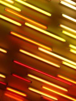 Neon, Neon Lights, Orange, Red, Yellow, Abstract, Light