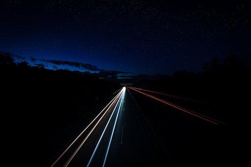 Highway, Light Trail, Long Exposure, Spotlight, Lights