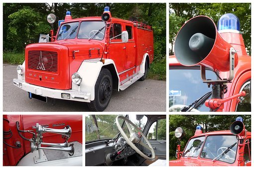 Collage, Fire, Fire Truck, Magirus Deutz, Mercur