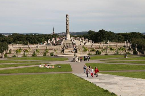 Norway, Oslo, Vigeland Park, Monument, Parking, Stairs
