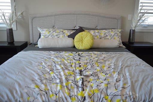 Bed, Pillows, Bedroom, Bedding, Comfortable, Sleep