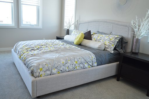 Bed, Bedroom, Bedding, Room, Home, Pillows, Comforter